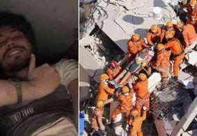 Universitário faz selfie antes sob escombros de prédio que desabou em Fortaleza
