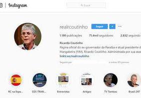 Ricardo Coutinho ganha mais de mil seguidores nas redes sociais após denúncia na 'Calvário'