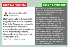 Fake News: é falsa a informação de que, na Paraíba, plano de vacinação prioriza presidiários