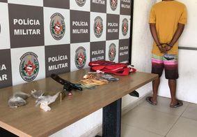 Jovem é preso com drogas e arma de fogo dentro de táxi no Altiplano