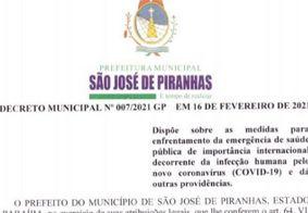 Decreto da prefeitura de São José de Piranhas