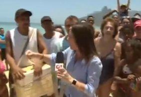 """Repórter da Globo vira meme após dar """"fora"""" em vendedor de picolé ao vivo; assista"""