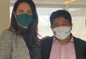 Michelle Ramalho e Ednaldo Rodrigues, presidente em exercício na CBF