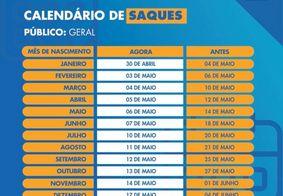Calendário referente aos saques e transferências da primeira parcela