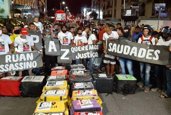 Motoboys fazem novo protesto e pedem justiça pela morte de entregador