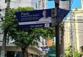 Rua da cidade ganhou placas em homenagem ao ator Paulo Gustavo