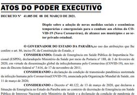 Novo decreto publicado pelo governo do estado
