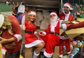 Vídeo: Lucas Viana e Thayse Teixeira distribuem presentes para crianças em Fortaleza