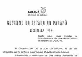 Governo do PR divulga decreto e proíbe eventos com mais de 10 pessoas