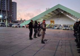 Preparação dos agentes antes das prisões, no Parque do Povo.