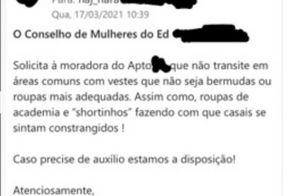 Vizinhas enviam e-mail pedindo que moradora não use 'shortinhos' no condomínio