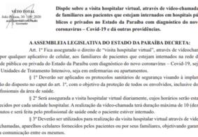 Pacientes com Covid-19 têm direito a videochamada garantido em hospitais da PB; veja os detalhes